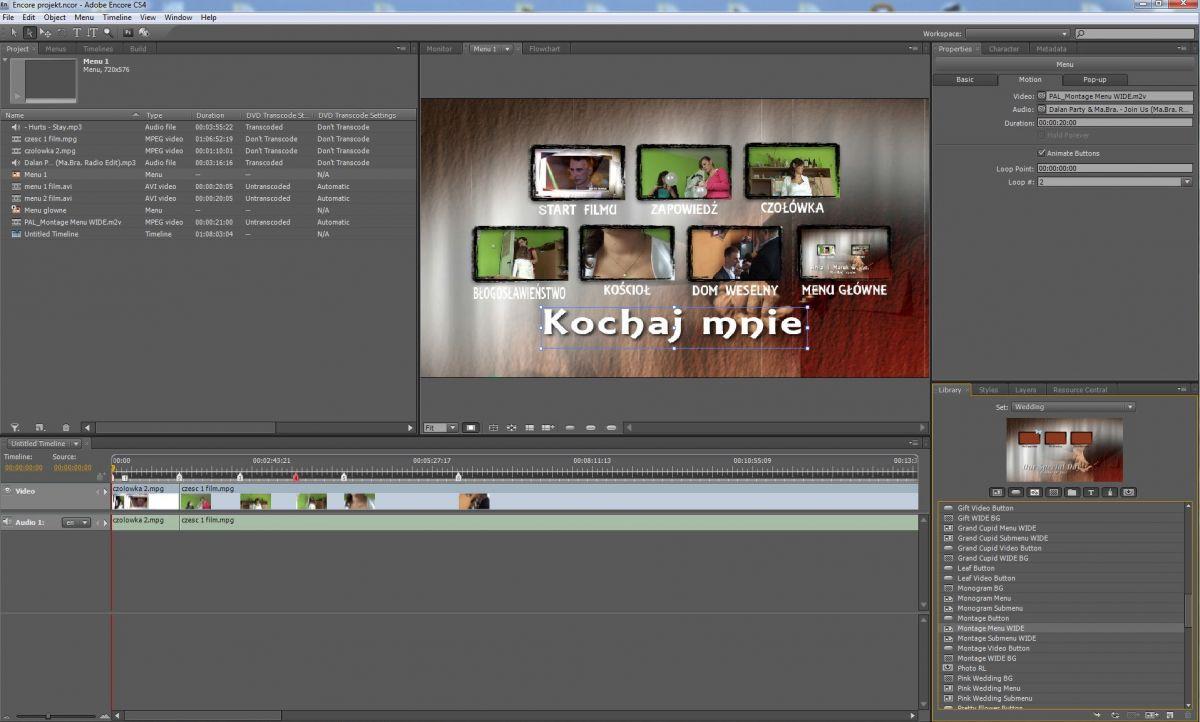 Panel Adobe Encore - oprogramowanie video-foto-kris