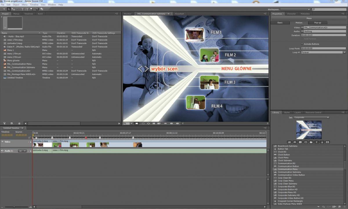 Menu Adobe Encore - oprogramowanie kris-video-foto